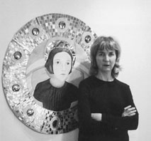 Cynthia Nixon in front of her work titled Mirror